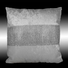 """SHINY BLING SILVER WHITE THICK VELVET DECO CUSHION COVER THROW PILLOW CASES 17"""""""