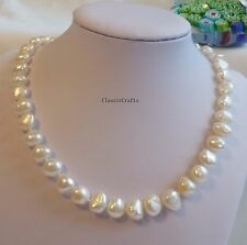 Genuine 9-10mm Baroque freshwater pearls necklace / bracelet L45cm
