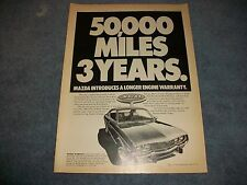 "1974 Mazda RX-4 Hardtop Vintage Ad ""Mazda Introduces A Longer Engine Warranty"""