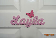 Personalised Names Wooden Name Plaque Door Sign / Bedroom Script 1 Butterfly #22