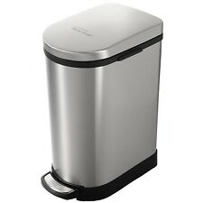 Heim Step Open Slow Down Close Trash Can Bin 2.6 Gallon Brushed Stainless Steel