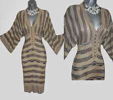 KAREN MILLEN Beige Stripe Batwing Sleeves V-Neck Knitted Crochet Dress 1 UK 6 8