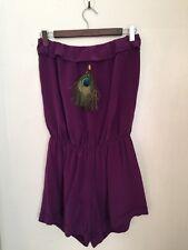 Gorgeous •Karina Grimaldi• Purple Strapless Silk Jumpsuit Romper size L EUC
