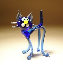 "Blown Glass ""Murano"" Figurine Animal Small Blue Kitten CAT on Long Legs"