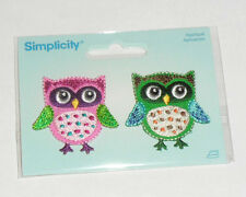 Colorful PINK and a GREEN OWL Embroidered iron on Patch 2 pc SET