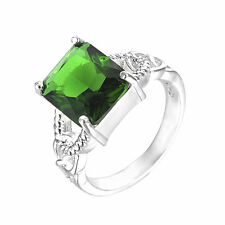 925 Sterling Silver Plated HOT Fashion Jewelry Men/Women Green CZ Size 8 Ring CQ