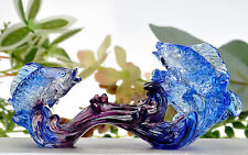 Liuli Fish Crystal Arts China Feng Shui Decoration Lucky Craft Gift Paperweight