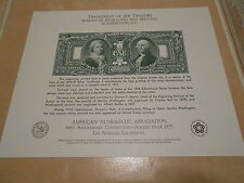 American Numismatic Association One Silver Dollar Certificate. #02 AMA1
