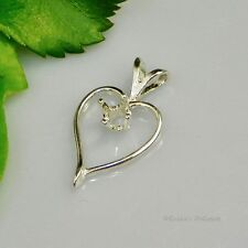 4mm Fancy Heart Sterling Silver Pendant Setting (Casting - Mount)