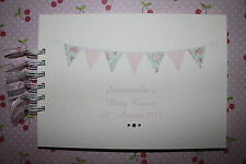 Personalised Shabby Chic Bunting Birthday Wedding Baby Shower Guest Book