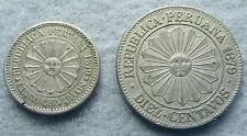 1879 Peru SOUTH PERU 5 and 10 Centavos 2 coin set