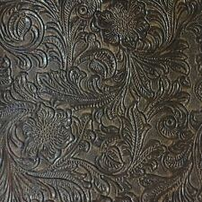 Faux Tooled Leather Upholstery Vinyl Fabric - Monterey Mink