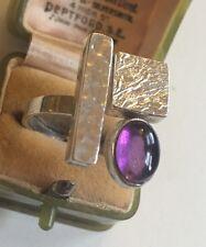 Vintage Silver Amethyst Ring Rare Piece