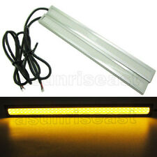 2 x Yellow COB Car LED Light DRL Daytime Runing Driving Fog Lamp Silver Aluminum