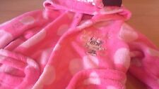 Girls Disney Baby Minnie Mouse Pink Fleece Dressing Gown Age 18-23 Months Hearts