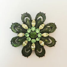 New Olive Green Flower Floral Good Luck Crystal Round Crystals Brooch Pin BR1437