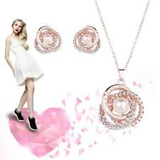 Fashion Charm Jewelry Set Crystal Pearl Pendant Chain Necklace Stud Earrings TL