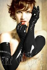 Sexy Black Coat of Paint Fetish Night Party Gloves PVC Latex Wet Look, UK Seller