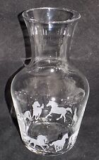 """New Hand Etched """"HORSE CARAFE""""- Beautiful Gift For Wine/Water/Juice Or For Keeps"""