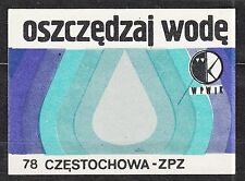 POLAND 1978 Matchbox Label - Cat.G#457 Save water - WPWIK.