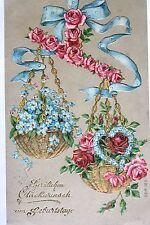 16239 Kitsch AK Geburtstagswünsche, geprägt, Blumenarrangement um 1915