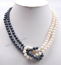 Fashion 2Rows 8-9mm Natural Black /White Akoya Cultured Pearl Necklace