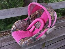 Camo Infant Car Seat Cover, RealTree fabric and Hot Pink Minky