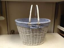 Large Oval White Wicker Laundry Storage Organizer Toy Bathroom Basket Blue Liner