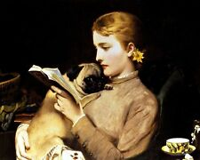 Charles Burton  Barber  Women  Reading With Pug   - 24'  CANVAS
