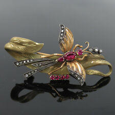 Antique European Old Cut Diamond & Ruby Silver & 18K Gold Insect & Leaf Brooch