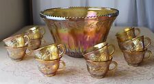 """CARNIVAL VINTAGE INDIANA GLASS PUNCH BOWL, """"MARIGOLD"""" W 12 CUPS"""