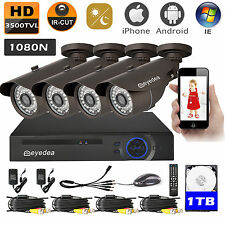 Eyedea 8 CH 3500TVL HDMI Surveillance DVR Home CCTV Security Camera System 1TB