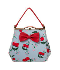 Banned Vintage CHERRY Kirschen Pin Up Kisslock HANDTASCHE Bag Rockabilly