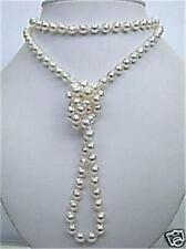 8mm Superb natural white salt water Shell Pearl necklace 48 inchs 18K GP