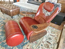 "45"" W Chair rocker red wine ottoman inc Italian leather exotic wood steel frame"
