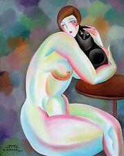 JZ Art Déco - Nu au chat - Tableau original Peinture Huile Oil Painting