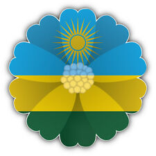 Rwanda Flag Flower Car Bumper Sticker Decal 5'' x 5''