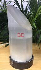 "9"" Selenite LED Lamp Lipstick Tower Fossil Base Gem Slant Top Crystal Lamp Gift"