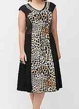 Lane Bryant cap sleeve Black and faux leopard inset ponte zip back dress size 16