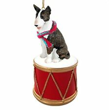 BULL TERRIER BRINDLE w/ DRUM DOG CHRISTMAS ORNAMENT HOLIDAY Figurine Scarf gift