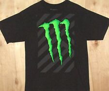"Tee Shirt, Monster Energy Drink, Front Green ""M"" Graphic Black, Large"