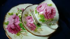 ROYAL ALBERT TEA CUP AND SAUCER TRIO ~AMERICAN BEAUTY~ STUNNING PINK ROSES GOLD