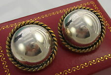 Estate Vintage Huge SAUL Dome Rope Taxco Mexico Sterling Silver Clip On Earrings
