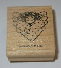 Heart Angel Rubber Stamp Stampin' Up! Retired Love Girl Buttons Quilted Wood Mtd
