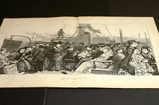 Dancing on a Boat HOLIDAY TIME at SEA 1873 Large Victorian Engraving Plus STORY