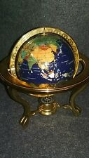 """ABSOLUTELY BEAUTIFUL 19"""" LAPIS GEM STONE GLOBE W/ COMPASS 3 FOOTED"""