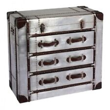Industrial Metal & Faux Leather Chest Of 3 Drawers,Shabby Vintage Chic