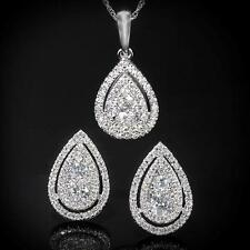 New 14K 1.13ctw Diamond  Layered Tear Drop Pendant & Earring Set WG