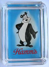 Hamm's Beer Bear Card & Glass Ashtray Key Ring Change Candle Tray , Paperweight