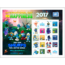 2017 UNITED NATIONS  - PERSONALIZED  SHEET - SMURFS - VIENNA SHEET - MINT NH